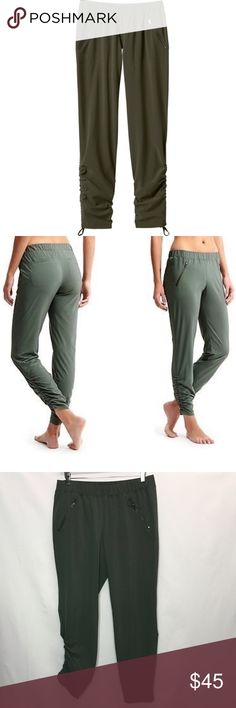 "Athleta Aspire Ankle Pants So from the studio to sporty chic in these adorable ankle pants. Elastic waist, 2 front angles zip pockets, 2 rear welt pockets, scrunch at the cuff with never ending drawstring. 86% recycle polyester 14% spandex. Inseam 27 1/2"" Athleta Pants Track Pants & Joggers"