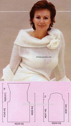Вязание спицами свитера с розой / Стильное вязание