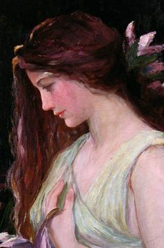 "//Frederick Stuart Church, ""Portrait of a Woman in Green"", detail #art #painting #woman"