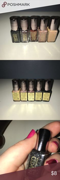 Naked Nail Polish (5) this is a set of naked nail polish i have all of the kinds in the pictures and these have never been used these are the brand Naked Naked Accessories