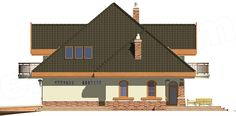 Elewacja lewa projektu Kraska z garażem 2-st. [A] Plans, Home Fashion, Cabin, Architecture, House Styles, Villas, Home Decor, Arquitetura, Decoration Home