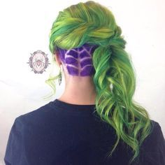 This secret purple spiderweb. | 16 Colorful Undercuts That Will Make Your Current Hair Feel Boring AF