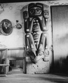 Frog House, Klukwan. Photo taken 1968 by John Edward Svenson Totems now in the Alaska State Museum, Juneau