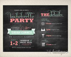 Bachelorette Party Night/Weekend Itinerary Modern Invitations (Bachelorette Schedule/Bachelorette Weekend Invitations) -- Digital Printable on Etsy, $12.00