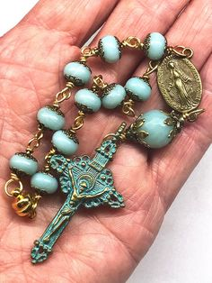Pocket Rosary, Amazonite Rondelle Beads, Patina Blue Vatican Crucifix, Catholic,Religious Gifts, Magnetic Closure, Car Cross, Decade Rosary