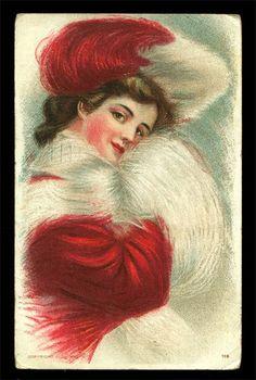 Image result for womens muffler vintage valentine CARDS