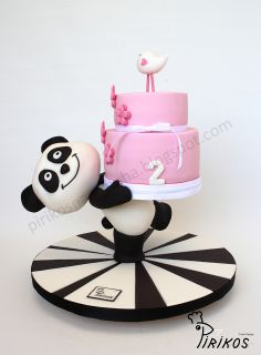 Panda delivers a cake! - A cake stand made by us and covered in sugar paste, with a small cake on top. The deliver was made by a Panda witch is a favourite TV channel icon amogst kids around this place Baby Cakes, Baby Birthday Cakes, Girl Cakes, Panda Birthday, Anti Gravity Cake, Gravity Defying Cake, Cute Cakes, Pretty Cakes, Fondant Cakes