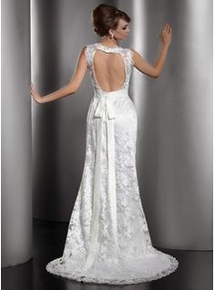 Trumpet/Mermaid V-neck Court Train Charmeuse Lace Wedding Dress With Bow(s) (002013766) - JJsHouse