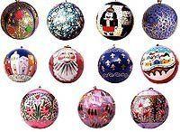 Christmas Decorations Paper Mache Ornaments Hanging Balls Diameter: 2.5 inches by ShalinIndia, http://www.amazon.com/dp/B0009WFMZ2/ref=cm_sw_r_pi_dp_u4JGqb06W7RM3