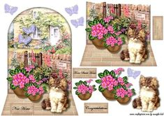 New Home Cottage Kitten on Craftsuprint designed by Marijke Kok - Shaped card topper for a new home card, with a cottage, flowerpots, a cute kitten and pretty butterflies.... - Now available for download!