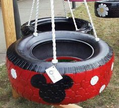 Mickey Mouse tire swing