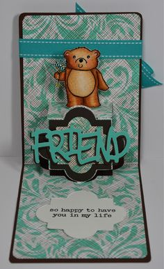 A Funky Label Pop N Cut card using the Sizzlit Friend Wording and Hero Arts Rubber stamps 2013