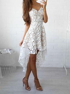 White V-neck Dipped Hem Spaghetti Straps Cami Lace Dress