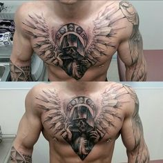 Arch Angel of Death Skull chest piece on our awesome client @thedarchangel…