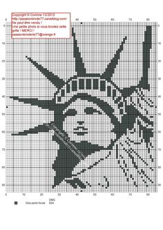 Pays - country - statue de la liberté - point de croix - cross stitch - Blog : http://broderiemimie44.canalblog.com/