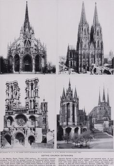 4 Gothic Facades, clockwise from top Left - Church in Rouen, Cologne Cathedral, Erfurt Cathedral and Laon Cathedral.  Gothic-Architecture-in-England.jpg 1734×2518 pixels