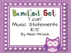 "This 643-page product is designed for music teachers who post ""I can"" statements, and is a bundled set of six grade-level ""I Can"" statements!"