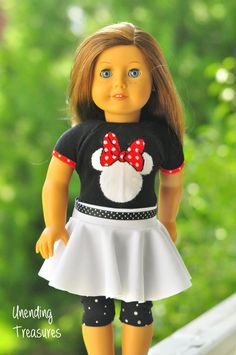 American Girl doll clothes, 18 inch doll clothes, Minnie Mouse sweater top, white skater skirt with black ribbon belt, and capri leggings by Unendingtreasures on Etsy
