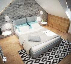 Projekt sypialni na poddaszu - Średnia sypialnia dla gości małżeńska na poddaszu, styl skandynawski - zdjęcie od Mart-Design Architektura Wnętrz