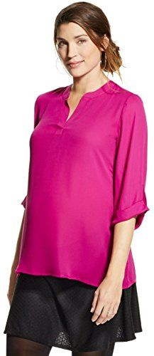 Ma Cherie Maternity Womens 34 Sleeve Chiffon Roll Tab Print Top Small Berry -- Check this awesome product by going to the link at the image.