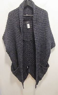 NWT Patterson J. Kincaid Chunky Cocoon Cardigan Wrap Blue/Gray Size Small