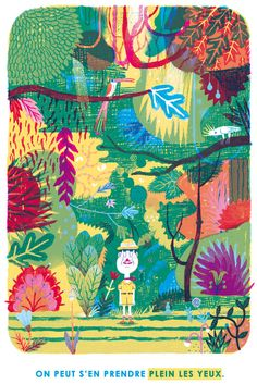 ❁   U ne image tirée d'un projet de livre jeunesse en travail.   Un explorateur explore une jungle. L'action fonctionne par doubles pages :...