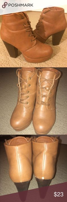 Brown Booties Charlotte Russe Size 6 Brown Booties Charlotte Russe Size 6. Worn less than 5 times- good condition other than slight spot of damage on back (visible in photos). Charlotte Russe Shoes Ankle Boots & Booties
