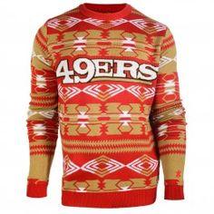 San Francisco 49ers Aztec Crew Neck Sweater (Red)