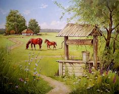 Кольба Сергей. Колодец. 2019 Gazebo, Outdoor Structures, Paintings, Animals, Beauty, Art, Paisajes, Russia, Pictures