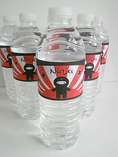 Created some free printable water bottle wraps for my daughter's Ninja birthday party!