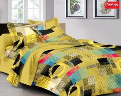 Buy Prestige Cotton Queen Sized Double Bedsheet (2 Pillow Covers) (Yellow & Black) Online Best Price