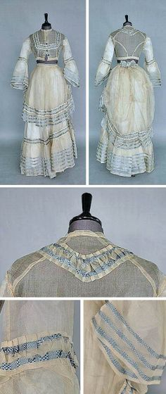 White organza summer gown ca. late 1860s. Bodice with turquoise molded glass buttons and pagoda sleeves. Skirt and apron-overskirt edged with checkered blue and white silk organza flounces. Kerry Taylor Auctions/Invaluable