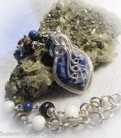 Patriotic Sodalite Wire Wrapped Necklace by superioragates on Etsy, $65.00