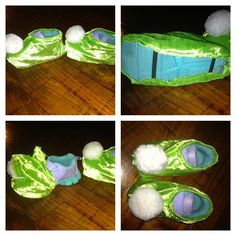 Tinkerbell costume shoe covers. made by tracing the shape of the shoe, sewing the midline seams and adding some elastic on the bottom to hold them on. kids thought they were awesome! definitely completed the outfit without adding the extra cost of a pair of shoes to match!