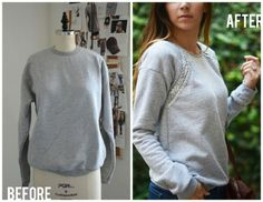 Do this with lace or some other design.  Jeweled Raglan Sweatshirt DIY