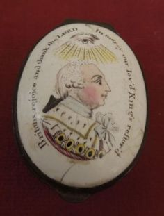 Antique-Battersea-Patch-Box-Celebrating-George-III-039-s-recovery-from-Madness-1789