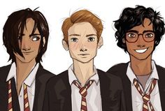 Sirius, Lupin, and James by lilabeanz. I don't think James had skin as dark as this but that's me