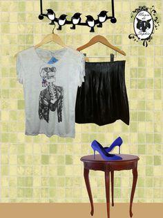 Combinação de babar: T-shirt Caveira Fashion + Saia Black de Couro Eco!!! Tudo no Mania de Sophia: www.maniadesophia.com.br.