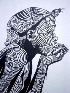 Reflection woodblock print Black and white woodcut by BenPrints