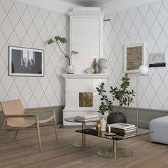 Grafiskt mönster som skapar ett elegant och modernt uttryck i rummet. Grafisk svart vit som vackert klär väggar i matsal och vardagsrum.