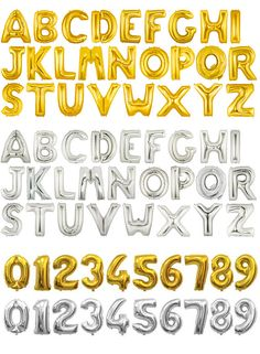 Huge 40 Gold and Silver Number 0-9 and Alphabet A-Z Foil Mylar Balloon (can be filled with air or helium)  Surely, these huge foil balloons can make