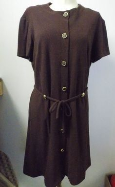 1960s -70s Fashioned by Patty Dress Brown with Gold Belt Loops  #FashionedbyPatty