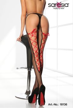 net-tights with lacing - red