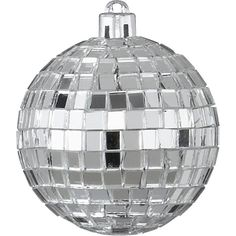 CB2 Disco Ball Silver Ornament ($0.99) ❤ liked on Polyvore featuring home, home decor, holiday decorations, fillers, christmas, ornament, joy ornament, holiday decor, disco ball ornaments and silver home decor