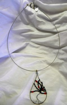 Recycled Guitar String Necklace with Tree by CreationsbyDreamLady