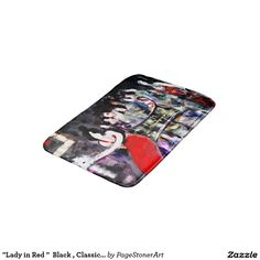 """""""Lady in Red """"  Black , Classic Vintage Bath Mat"""
