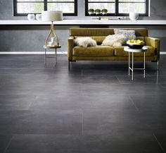 Qualycork clic VINYL cement donker. Stenen tegelvloer imitatie in supergroot formaat.