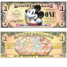 Mickey $$$!! Disney World Restaurants, Disney World Trip, Disney Vacations, Disney Trips, Disney Money, Disney Gift, Disney Crafts, Disney Fun, Disney Stuff