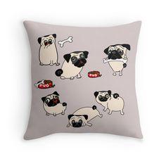 PUG Fawn pattern Cute Cartoon Pugs by LeahG