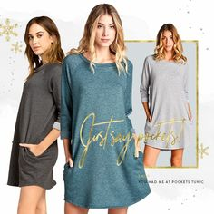 Take A Walk On The Soft Side💖  #REFRESH  You Had Me At Pockets Tunic  Sizes: XS, S, M, L, XL, 2XL, 3XL Presale: $44.99 (Retail $49.95) Colours: Charcoal, Heather Grey, Everest Green  Brand: Cherish  Loose fit, round neck, 3/4 length sleeve, extremely soft sweatshirt like fabric, fuzzy and soft on the inside, stretchy and cozy  Estimated Ship Date: Dec 22